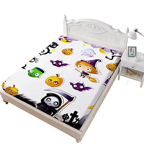 Rhap Full Fitted Sheet, Cartoon Halloween Printed Full Size Sheet, White Cute Patterns Halloween Decor 1 Piece Full Size Deep Pocket Bedding Fitted Sheet -
