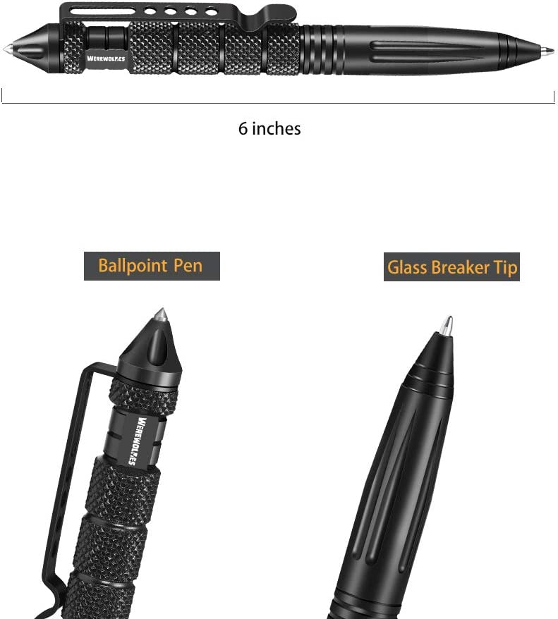 Emergency Glass Breaker Pen WEREWOLVES Professional Tactical Pen Survival Multitool Smooth Writing Pen with 12 Ink Refills Gift-Boxed