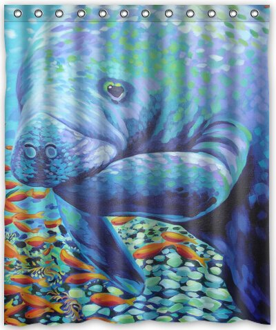 Brand New Manatee Waterproof Polyester Bath Shower Curtain,60 By 72 Inch