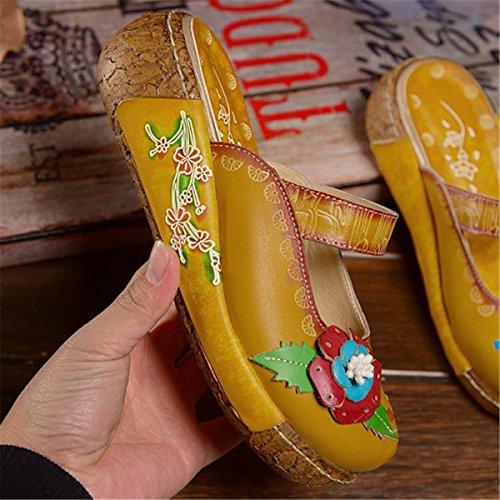 Heel Summer Flower BacklessSandals Slipper Oxford Handmade Wedges Women's Leather Yellow Platform Socofy Retro OS8qgwx