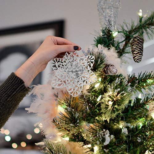 Shengruili Christbaumschmuck Glitter Poinsettia Weihnachtsschmuck Baumschmuck K/ünstliche Weihnachten Blumen Deko f/ür Weihnachtsbaum Champagner
