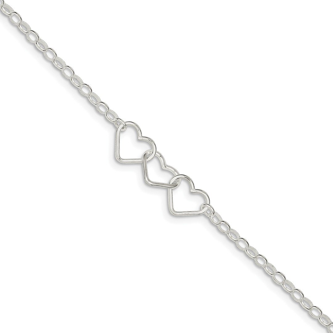 IceCarats 925 Sterling Silver 9 Rolo Chain 3 Interlocking Hearts Anklet For Women Ankle Beach Bracelet