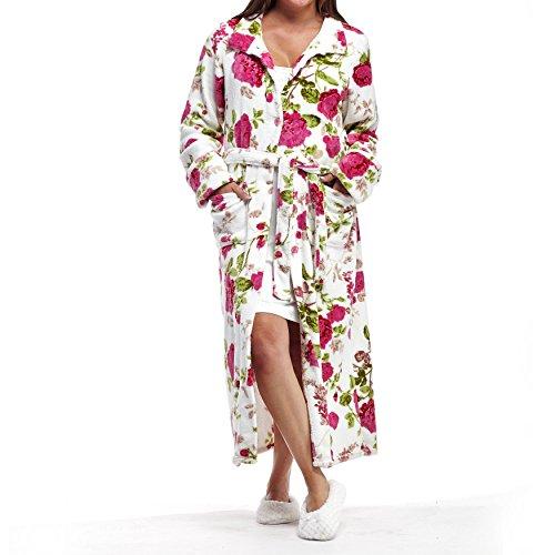 La Cera Women's Fleece Robe Plus Size 2X White/Pink Floral
