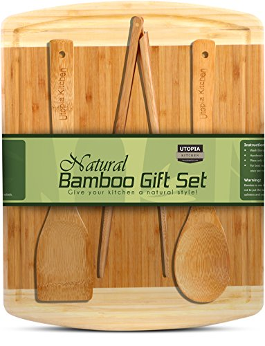 Natural Bamboo Gift Set With 3-Piece Wooden U...