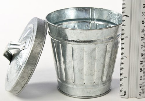 """3-3/4"""" Small-scale Galvanized Metal Trash / Garbage Cans Set of 2"""