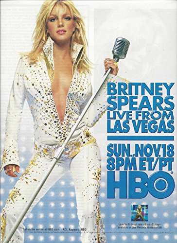 **PRINT AD** With Britney Spears In Elvis Costume Live From Las Vegas 2001 HBO Promo **PRINT AD** ()