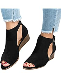 Womens Low Heel Wedge sandals Open Peep Toe Side Cut Out Ankle Buckle Cushioned Strap Summer Suede Shoes