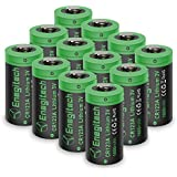 CR123A 3V Lithium Battery, [Upgrade 1600mAh] Enegitech 12Pack CR123A Batteries Non-Rechargeable with PTC Protection for Photo Camera Flashlight Torch Microphones