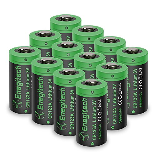 ttery, [Upgrade 1600mAh] Enegitech 12Pack CR123A Batteries Non-Rechargeable with PTC Protection for Arlo Camera VMS3230 (Old Version), Flashlight Camera ()