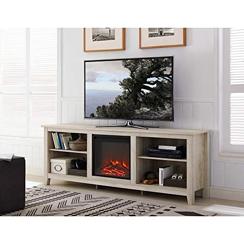 WE Furniture 70-inch Wood Media TV Stand Console with Fireplace White Oak Antique, ()