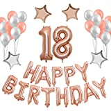 40inch 18TH Rose Gold Birthday Number Balloon with Happy Birthday Banner and Latex balloons Mylar Star for Birthday Party Decorations Supplies (Rose gold 18)