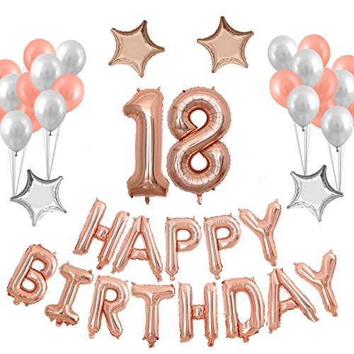40inch 18TH Rose Gold Birthday Number Balloon With Happy Banner And Latex Balloons Mylar Star
