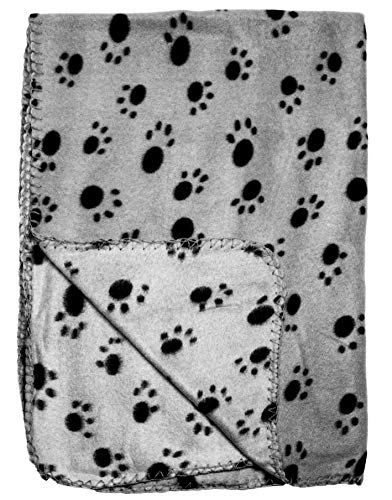 bogo Brands Gray Fleece 39 x 27 Inch Pet Blanket with Paw Print Pattern - Animal Supplies