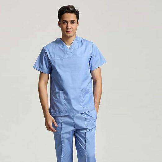 OPPP Ropa médica Uniformes de enfermería de Manga Corta para Hombres, Mujeres, Trajes, Azul, quirúrgico, Batas, Ropa de Mano, Ropa de médico, ...