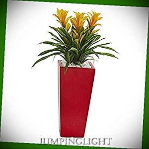 JumpingLight Triple Bromeliad Artificial Plant in Red Planter, Yellow Artificial Flowers Wedding Party Centerpieces Arrangements Bouquets Supplies 33