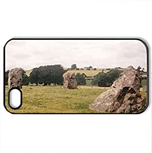 Stone Circle - Case Cover for iPhone 4 and 4s (Ancient Series, Watercolor style, Black)