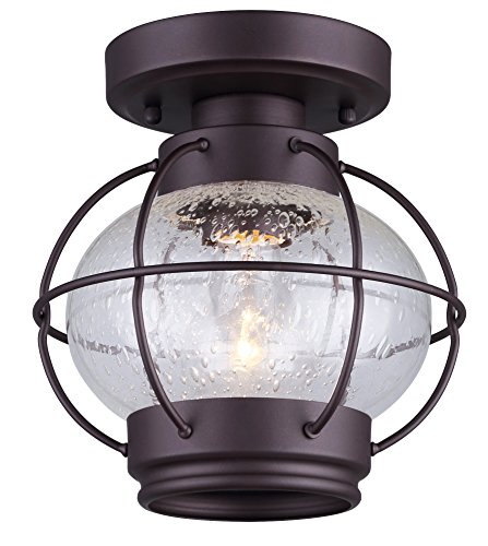 (Canarm IFM636A08ORB LTD Potter 1 Light Flush Mount Oil Rubbed Bronze with Seeded)