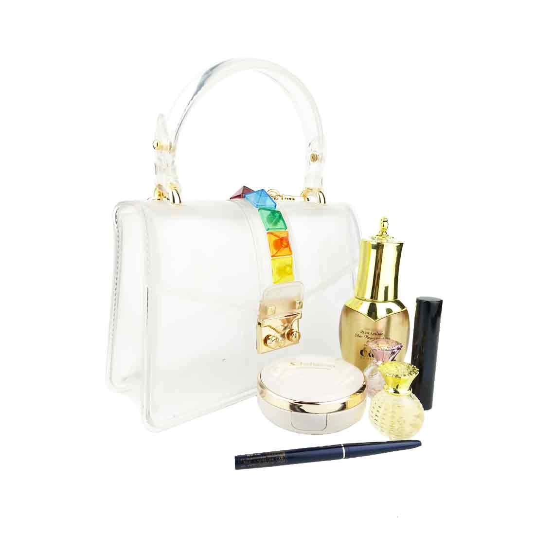 Small Clear Bag Crossbody Ladies Candy Color Jelly Plastic PVC Handbag