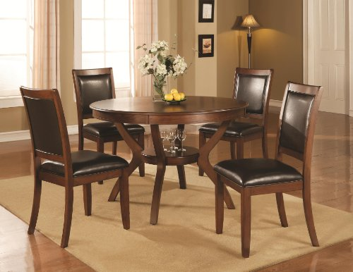 Coaster 102171 102172 Nelms 5 Pc Walnut Round Dining Table Chair Set