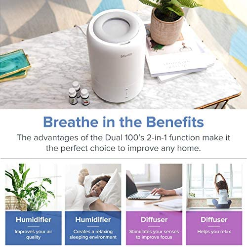 LEVOIT Humidifiers For Bedroom, Cool Mist Humidifier For Babies, Top Fill Ultrasonic Air Humidifier, Essential Oil Diffuser With Smart Sleep Mode, Whisper Quiet Operation, Auto Shut Off (1.8L/0.48Gal)