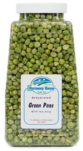 Harmony House Foods Dried Peas, whole (16 oz, Quart Size Jar) for Cooking, Camping, Emergency Supply, and More