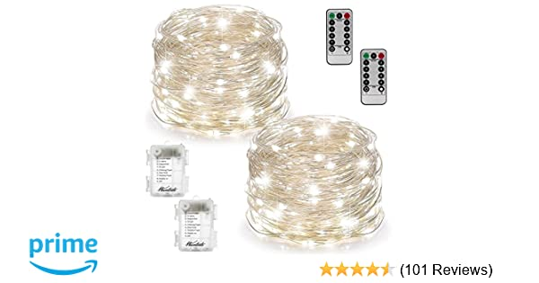 bd1b8cb92e4 2 Set Fairy Lights Fairy String Lights Battery Operated Waterproof 8 Modes  100 LED 33ft String Lights Copper Wire Firefly Lights with Remote  Control(Timer) ...