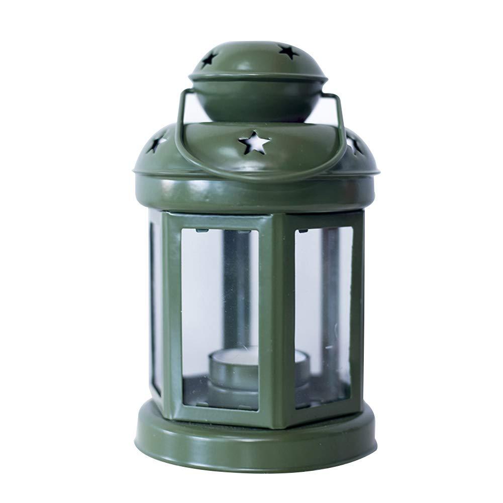 Ornamento Vintage per Supporto Candela 1 Lanterne in Metallo Esterno Bianco Fablcrew Metallo casa 10 * 21.5CM Matrimonio Decorazione da Tavolo Camera