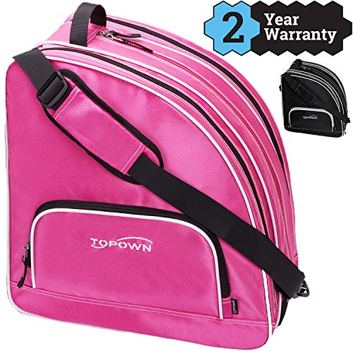 TOPOWN Premium Skate Bag, Ice & Inline Skates Multi-Function Skate Bag, Shoulder Carry Skate Equipment Bag for Boys and Girls, Black/Rose Red Roller Skate Bag for Size 3 - 10.5
