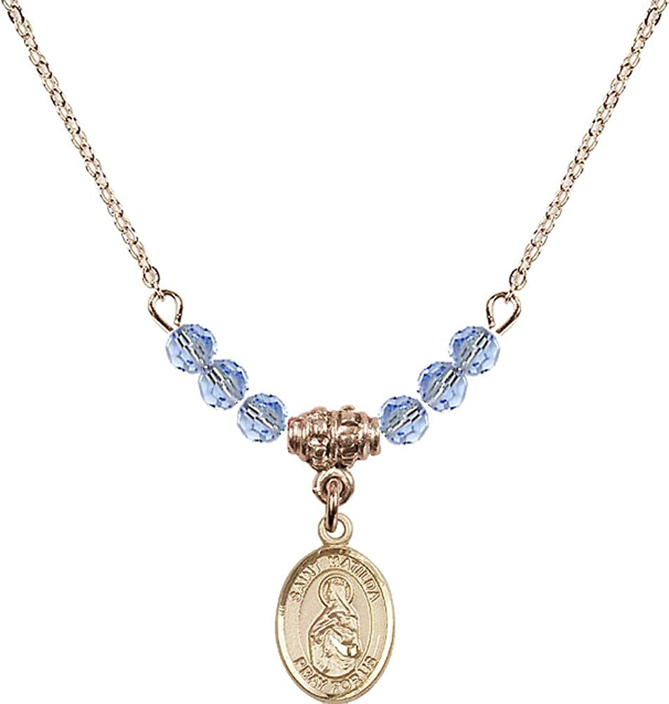 Bonyak Jewelry 18 Inch Hamilton Gold Plated Necklace w// 4mm Light Blue September Birth Month Stone Beads and Saint Matilda