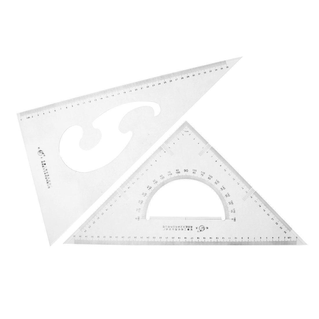 uxcell Plastic 30/60 45 Degree Triangle Rulers Protractor Drawing Tool 2 Pcs