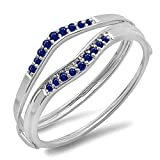 0.12 Carat (ctw) 10K White Gold Round Blue Sapphire Anniversary Enhancer Guard Wedding Band (Size 7)