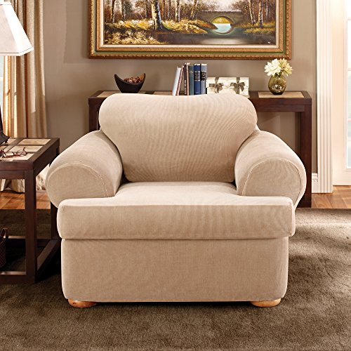 Sure Fit Stretch Stripe Separate Seat T-Cushion Chair Slipcover - Sand (SF37727) by Surefit (Image #2)