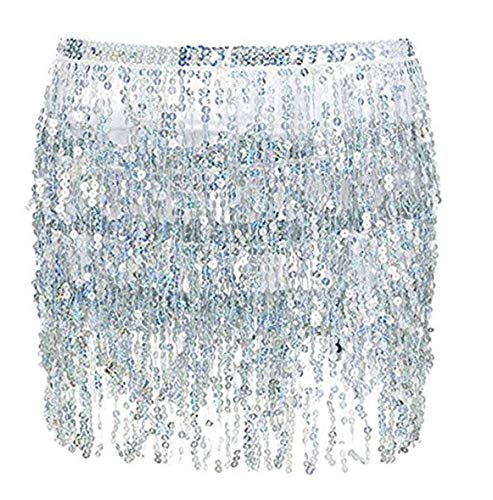 Sexy Women's Summer Beach Wrap Sequins Tassel Mini Skirts Music Festival Hip Scarf Belt Skirt (Silver, OneSize)