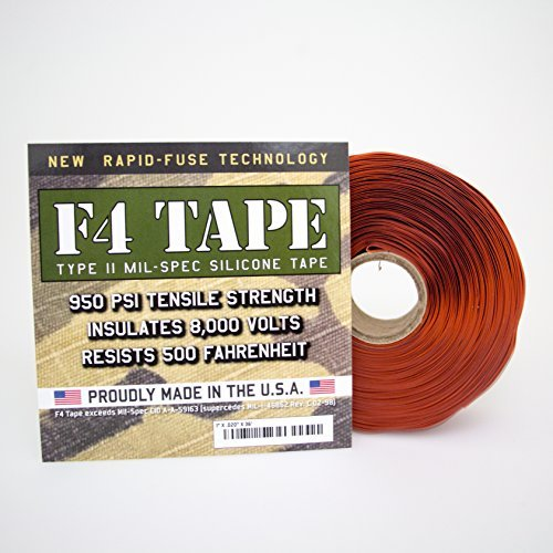 Harbor Products F4TapeRedOxide F4 Tape Self-fusing Silicone Tape, 20 mil Thick, 36' Length x 1