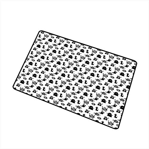 RelaxBear Alien Welcome Door mat Monochrome Monster Silhouettes Childish Drawings of Otherworldly Beings Halloween Door mat is odorless and Durable W23.6 x L35.4 Inch Black -