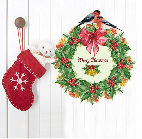 DragonHonor Merry Christmas Wreaths Vinyl Mural Wall Sticker Decals For Living Room Kids Room Home Art Removable Decoration
