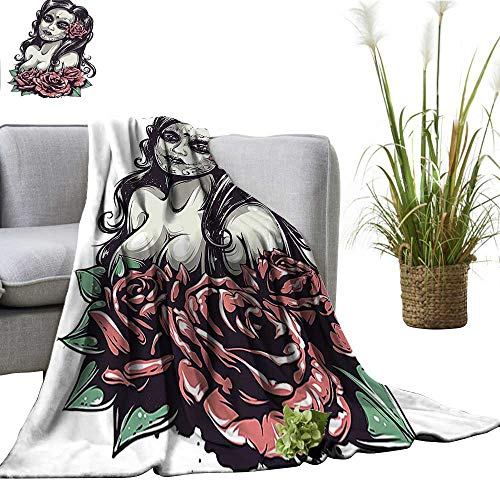 YOYI Travel Blanket Dead Sexy Girl with Roses Mexican Sugar Skull Makeup Aztec Culture Goddess Easy to Carry Blanket 50