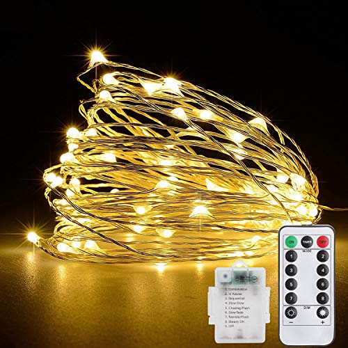 Fairy String Lights Battery Operated, 33ft 100 LEDs Fairy Lights with Remote Control, Waterproof 8 Modes Copper Wire Decorative Lights for Halloween Christmas Bedroom Patio Garden Wedding Party Indoor