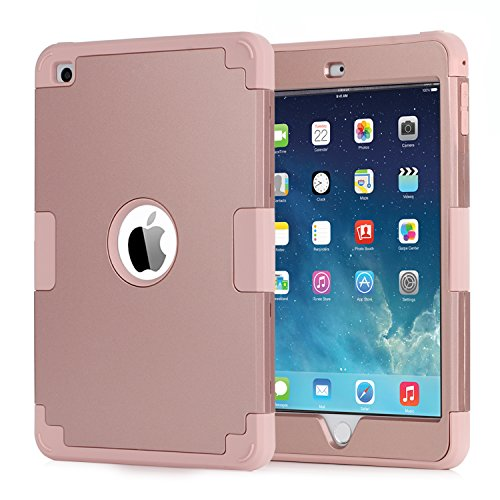 iPad Mini 4 Case,iPad Mini 4 Retina Case,BENTOBEN Anti-Slip Shock-Absorption Silicone High Impact Resistant Hybrid Three Layer Protective Cover for iPad Mini 4 Rose Gold