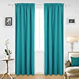 Deconovo Teal Blackout Curtains 2 Panels Sun Blocking Curtains Blackout Window Cover for Boys Room 42W x 95L Inch Aqual Blue/Teal 1 Pair