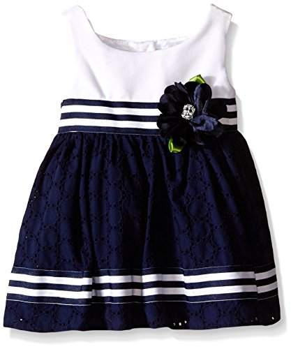 Rose Eyelet Dress - Sweet Heart Rose Baby Knit To Eyelet Dress With Striped Grosgrain Ribbon Detail, White/Navy, 18 Months