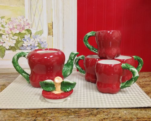 APPLE 3-D,Teapot and 4 Mugs, 87456 BY ACK