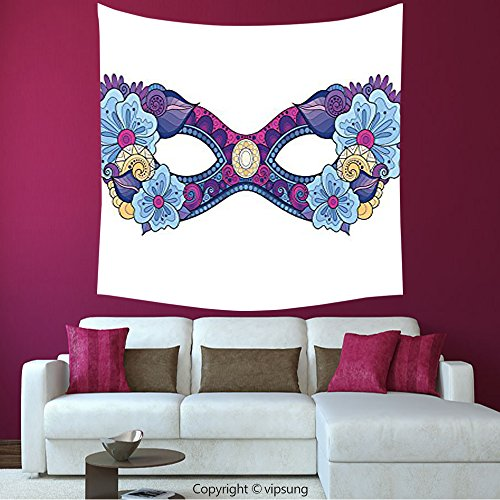 House Decor Square Tapestry-Masquerade Decorations Collection Colored Carnival Mask With Decorative Flowers Masked Ball Celebration Art Navy Blue Magenta White_Wall Hanging For Bedroom Living Room Dor