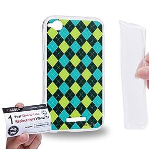 Case88 [HTC Desire 320] Gel TPU Carcasa/Funda & Tarjeta de garantía - Art Trend Mix Design Argyle Green & Cyan Combination Art1224