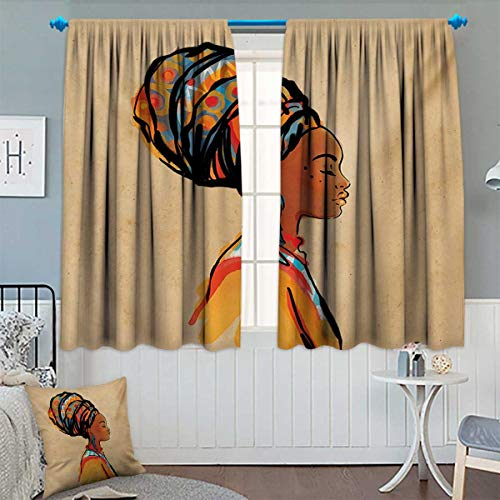 Chaneyhouse African Thermal Insulating Blackout Curtain Ethnic Woman with Exotic Feather Earring and Scarf Zulu Hippie Artwork Patterned Drape for Glass Door 72
