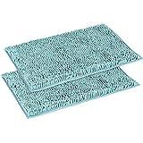 Flamingo P Super Soft Microfiber Bathroom Rugs Non Slip Shag Bath Mat for Kitchen Bedroom, 17'x 24', Duck Shell, Two Pack