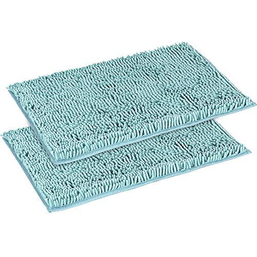 "Flamingo P Super Soft Microfiber Bathroom Rugs Non Slip Shag Bath Mat for Kitchen Bedroom, 17""x 24"", Duck Shell, Two Pack"