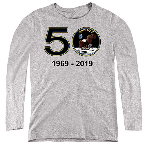 A&E Designs NASA Womens Long Sleeve Shirt 50 Years Athletic Heather, Large