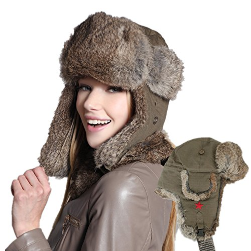 Kenmont Winter Warm Women Ski Cotton Real Rabbit Fur Earflap Aviator Hat Bomber Cap