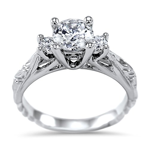 Art of Fine 14K White Gold 6.5mm (1.0ct) Round Vintage Tapered Cathedral 3 Stone Moissanite Ring